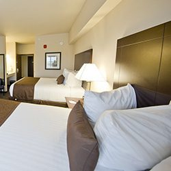Hotel room with double beds